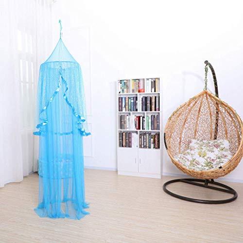 WLD Mosquitera de verano Mosquitera Niños Cama con dosel Colgante Protección contra mosquiteros Cúpula redonda Soporte de piso para bebés Niños Altura de la cuna 240 cm, azul,Azul