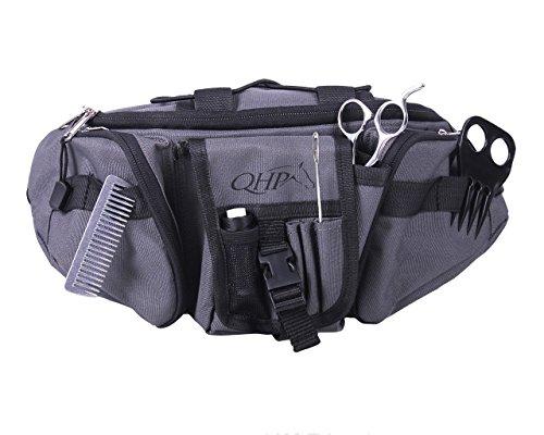 QHP Bauchtasche Hüfttasche mit mehrern Fächern, ideal zum Einflechten, bereits gefüllt (Grau/Schwarz)
