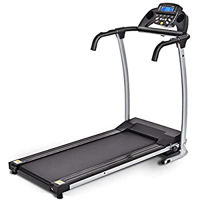 Goplus 800W Folding Treadmill Electric Motorized Power Fitness Running Machine with LED Display and Mobile Phone Holder Perfect for Home Use (Black)