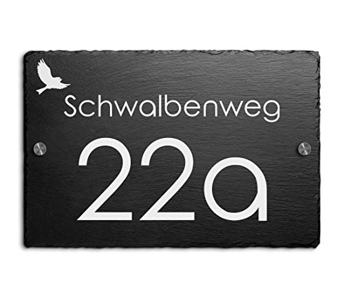 Schiefer Hausnummer & Straße Namen Wunsch-Gravur 30x20 cm Namensschild Schild