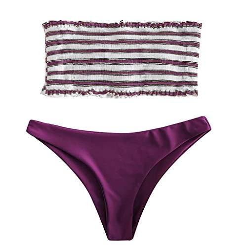 iYmitz  Maillot de Bain 2 pièces Femme Sexy Mignon Bikini Rayure Push Up Rembourré Bustier Swimsuit Tenue de Plage
