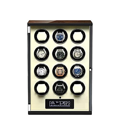 zyy Cajas Giratorias para Relojes Caja Relojes Pantalla LCD Táctil Digital con Mando A Distancia Silenciosa Caja de Almacenamiento 5 Programas de Rotación Beige (Size : 12 epitope)