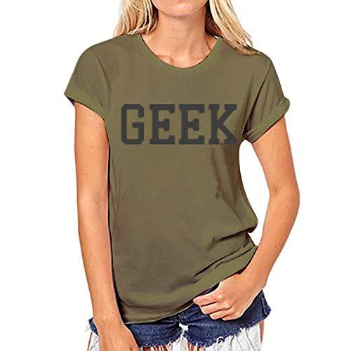 XIAOBAOZITXU Kurzarm Frauen T-Shirts Weibliche Tops T Dame T Shirts Grün Geek Gedruckt BuchstabenVogueT-Shirt M