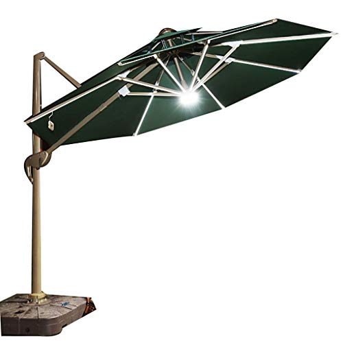 Paraguas Sombrilla para Patio/Sombrilla para Exteriores/Sombrilla Solar,Plegable con luz LED Iluminación para Exteriores Giro de 360 Grados con Base de mármol,Elegante y Simple Moderno