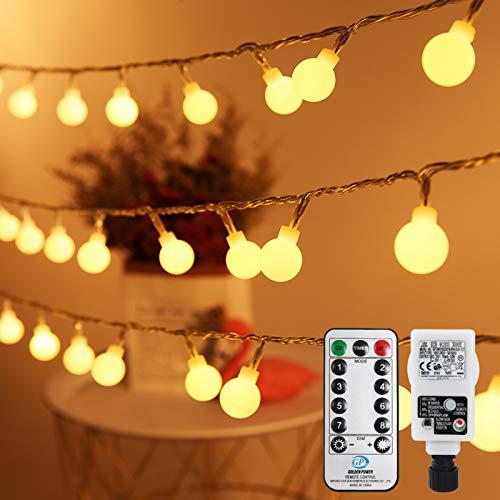 Lichterkette Kugeln 10M, Infankey 100LED Lichterkette Innen Strombetrieben mit Fernbedienung, 8 Modi/Timing-Funktion/IP44 Wasserdicht, Lichterkette Außen Perfekt für Garten, Partys