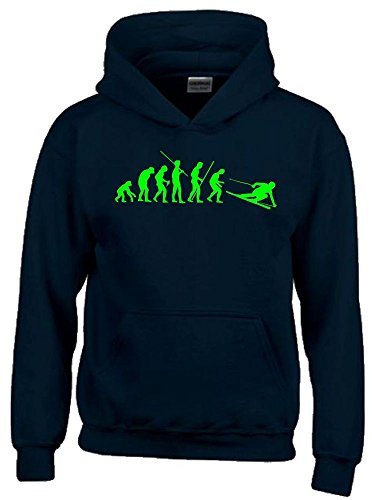 Coole-Fun-T-Shirts SKI Evolution Kinder Sweatshirt mit Kapuze Hoodie schwarz-Green, Gr.140cm