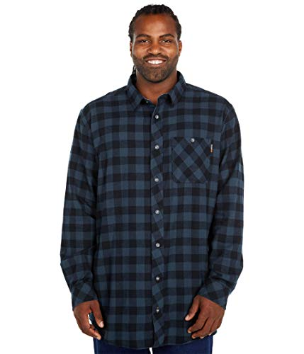 Timberland PRO Herren Woodfort Mid-Weight Flannel Shirt (Big/Tall) Work Utility Hemd, Navy Buffalo Check, 3XL Hoch