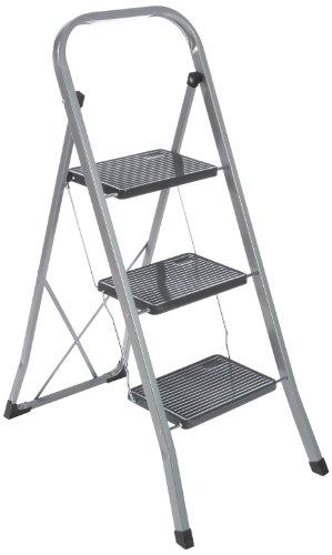 axentia Trittleiter 3 Stufen klappbar, Klapptritt aus Metall mit Haltebügel und großen Stufen, Klapptreppe bis 150 kg, silberfarben / schwarz