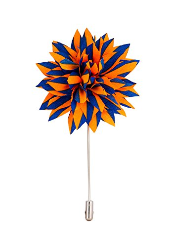 Knighthood Men's Avaron Projekt Handmade Blue Striped Flower Lapel Pin/Brooch Orange