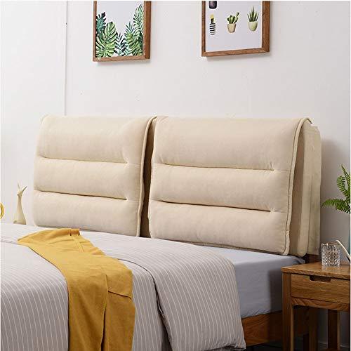 Lino de la Tela tapizada Completa cabecero Acolchado del Respaldo de la Almohadilla, Volver Almohadillas por Sentado en la Cama (Color : Beige, Size : 120x10x60cm)