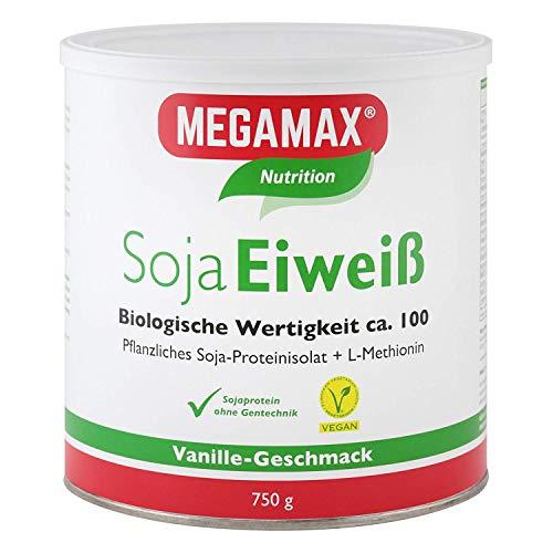 MEGAMAX Soja Eiweiß Vanille 750 g + Taurin + L-Methionin Glutenfrei - Sojaeiweiß-Isolat Low Carb - pflanzliches Eiweiss, Laktosefrei, Aspartamfrei - Veganes Protein für Muskelaufbau u. Muskelerhalt