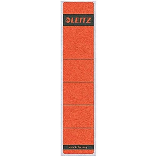 Leitz Rückenschild selbstklebend für Standard- und Hartpappe-Ordner, 10 Stück, 50 mm Rückenbreite, Kurzes und schmales Format, 39 x 192 mm, Papier, rot, 16430025