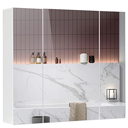 DICTAC Armario de Baño con Espejo 70x60x15cm Armario de Baño de Pared...