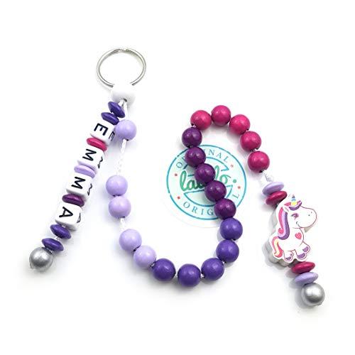 LALALO Mädchen Rechenkette mit Namen, Kette für die Grundschule / Schulanfang, Lernmittel rechnen bis 20 mit Schlüsselring (Einhorn, Pink Lila)