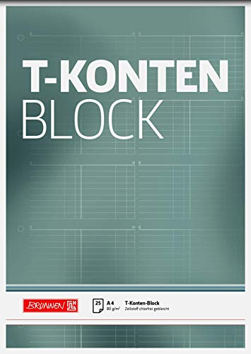 Brunnen 1042025 T-Konten-Block (A4, 25 Blatt, 10 T-Konten je Seite, gelocht, 80g/m²)