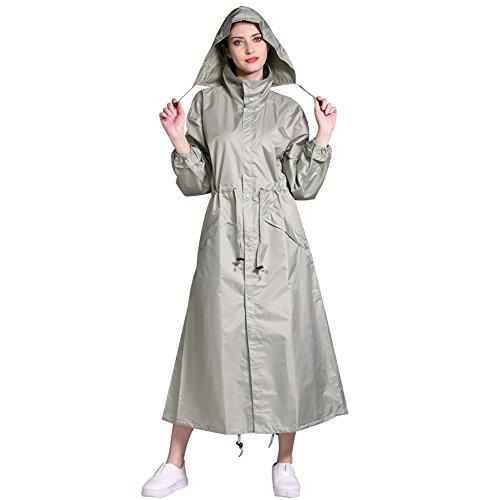 Damen RegenjackeRegenparka Lange Fahrrad Wasserdicht Funktionsjacke Atmungsaktiv Regenmantel Regenponcho mit Kapuze (Grün, OneSize)