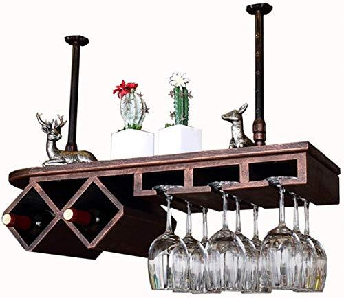 YLongFEI Wijnrek Opbergrek Massief Hout Bar Plafond Gebouwd Opknoping Stemware Rekken Verstelbare Hoogte Rustieke Wijnhouder Flessen en Goblet Bar decoratie