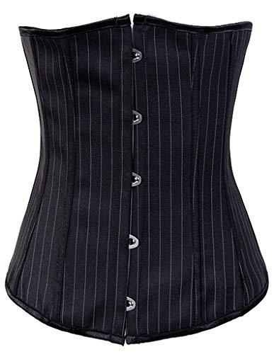 Womens Waist Training Corset,Sexy Satin Vintage Underbust Corset Black Stripes/Bust:29-31inch Waist:23-25inch