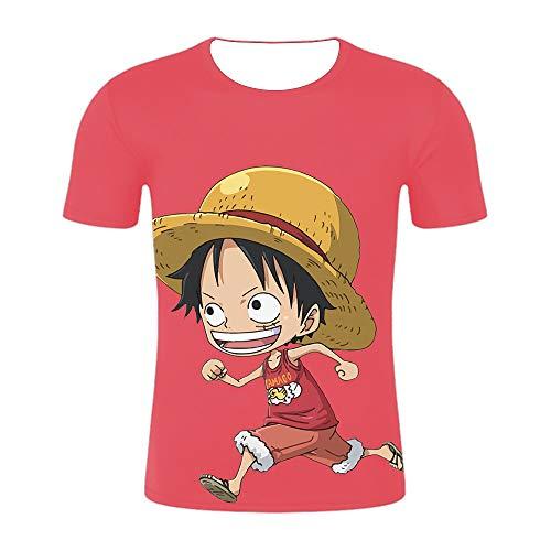 GuiSoHn Hombre Mujer T-Shirt 3D One Piece Monkey Luffy Impresa Unisex Camisetas de Manga Corta Casual Camisas Deportivas Sport tee Tops XL