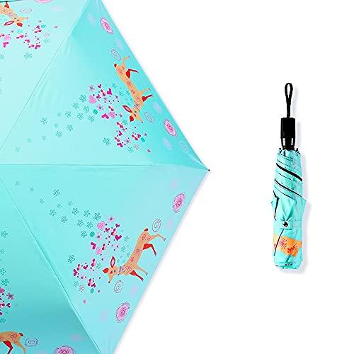 Ziayai Paraguas ultraligero, a prueba de rayos UV, plegable, para mujer, soleado y lluvioso, de doble uso, portátil, portátil, protector solar, paraguas plegable manual de alta calidad