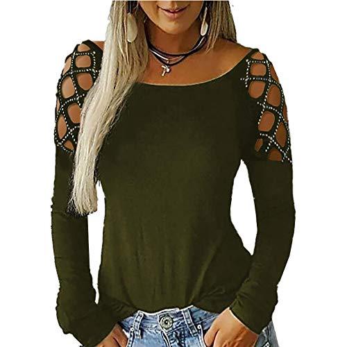 Otoño Sexy Color sólido Blusa de Mujer de perforación en Caliente de Manga Larga Camiseta