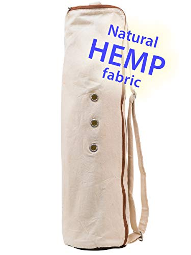 Meru Yoga Mat Bag - The Original Smart Yoga Bag Design – Natural Hemp Yoga Mat Carrier. Quality Yoga Mat Holder (Natural Hemp)