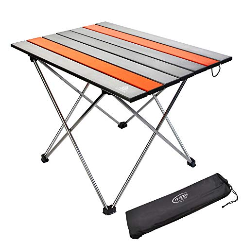 YTR OUTDOOR Aluminium Campingtisch Klapptisch Falttisch Beistelltisch mit Tragetasche für Camping Outdoor Picknick BBQ Wandern Reise Angeln S
