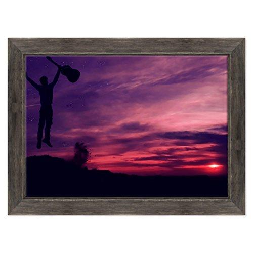 ConKrea Quadro auf Leinwand Canvas - gerahmt - fertig zum Aufhängen - Himmel Sonnenuntergang für Herren Gitarre - Musica Chitarrista - Nudel - Landschaft Dimensione: 70x100cm D - Colore Nero Shabby