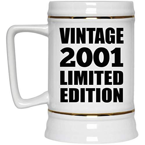 20th Birthday Vintage 2001 Limited Edition - Beer Stein Jarra de Cerveza, de Cerámica - Regalo para Cumpleaños, Aniversario, Día de Navidad o Día de Acción de Gracias