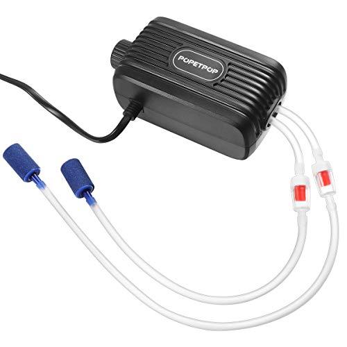 POPETPOP Aquarium Luftpumpe - Verstellbare Sauerstoffpumpe für Aquarium mit Zubehör Luftstein Rückschlagventil und Luftschlauch, 2X 2,5L/min