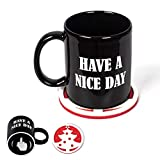 Luropa Have A Nice Day Middle Finger Coffee Mug, Funny Gift Idea and Unique Black Cup for Milk Juice or Tea