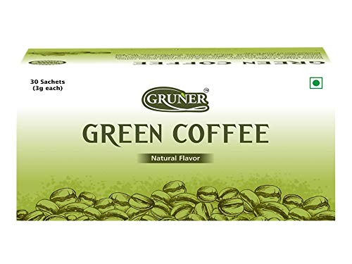 GRUNER 100% Natural Arabica Unroasted Green Coffee Bean Powder-30 Sachet Pack for Detoxification and Weight Loss Management