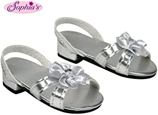 Sophia's Silver 18 Inch Doll High Heels, Fits 18 Inch American Girl Dolls & More! Doll Shoe Heels W/ Flower & Jewel.