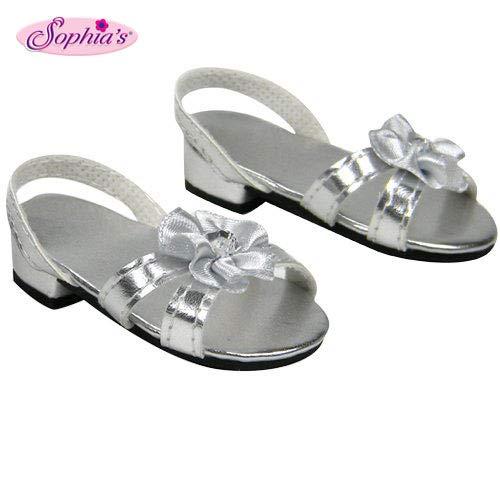Sophia's Silver 18 Inch Doll High Heels, Fits 18 Inch American Girl Dolls & More! Doll Shoe Heels W/ Flower & Jewel.