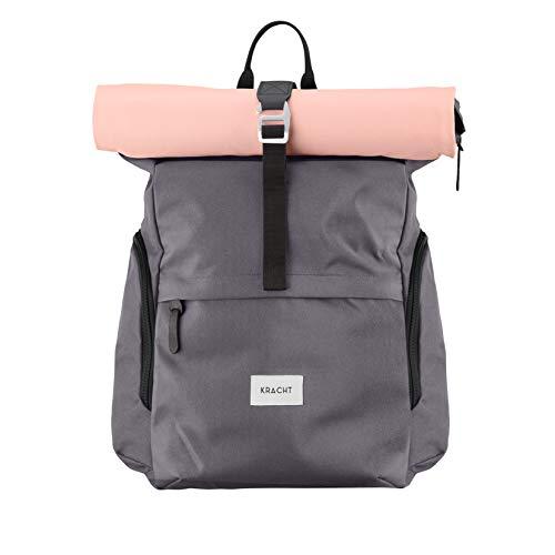 KRACHT Rucksack Damen & Herren – mit Laptopfach und wasserdicht – grau/rosa