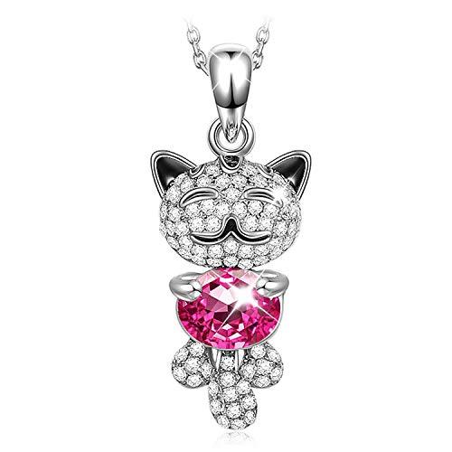 Kami Idea Mujer Collar, Gato Suertudo, Chapado en Platino, Cristales Rosa de Swarovski, Embalaje de Regalo, Regalos para Mamá