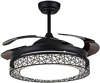 OUKANING Ventilador de techo con iluminación y mando a distancia, negro Ventilador de techo con luz 3 colores de luz, lámpara LED de techo, alas plegables, 42 inch(Negro)