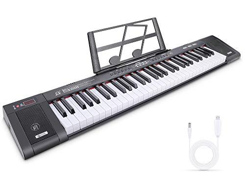 RenFox Digital Piano Elektronisches Klavier Professionelle Tastatur Klavier 61-Tasten-Tragbare Keyboard mit Notenständer, 200 Töne, 200 Rhythmen, 60 Demos(Schwarz)