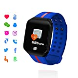 EJOLG IP67 Waterproof Fitness Trackers Smart Watch,with Heart Monitor and Blood Pressure Step Counter Pedometer,etc,Support Multiple national languages Mens Womens Unisex,Blue