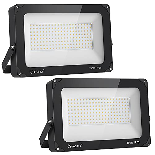 Onforu 150W LED Flood Light Outdoor, 15000lm Super Bright Security Light, IP66 Waterproof Outdoor Floodlight, 5000K Daylight White LED Exterior Light for Basketball Court, Stadium, Playground (2 Pack)