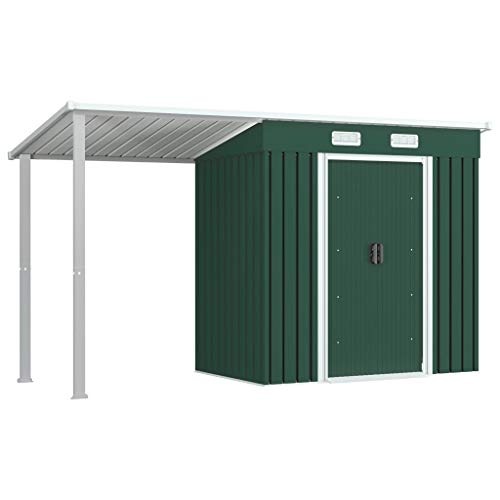 vidaXL Tool Shed with Canopy Green 346 x 121 x 181 cm Steel