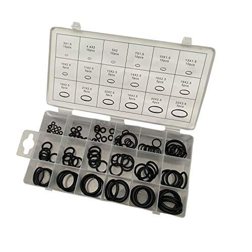 125 tlg. O-Ring Dichtringe Gummidichtung Sortiment Silikon Öl Benzin Dichtungsringe Set