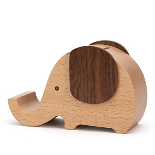 Hucha Banco de monedas Banco de dinero Caja de din Creativo de madera maciza elefante Piggy Bank Anti-fall niños de gran capacidad Piggy Bank decoración del hogar regalo Regalos de cumpleaños de Navid
