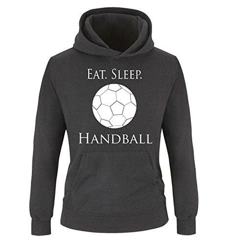 Comedy Shirts - EAT. Sleep. Handball - Kinder Hoodie - Schwarz/Weiss Gr. 134/146