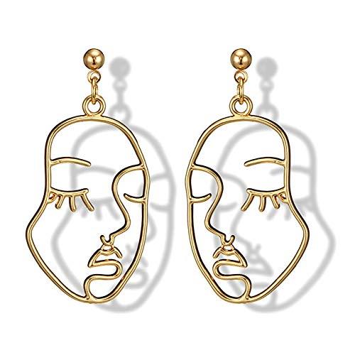 Ballylelly Classique Alliage Femmes Boucles d'oreilles Évider Visage en Forme d'oreille Pendentifs Charme Dame Earbob À La Mode Femmes Bijoux Cadeau