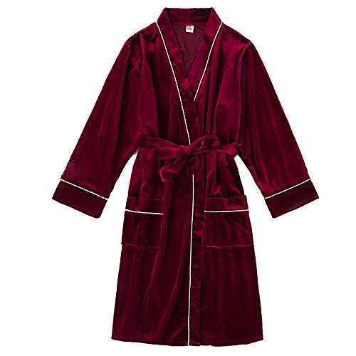 FZC-YM Pijama de Terciopelo de algodón para Mujer, otoño Invierno, cálido, Suave, Ligero, Largo, Bata de Punto, Ropa de Dormir, Informal y cómoda, Ropa de salón en casa, Rojo Vino, L