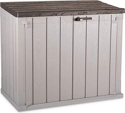 Mülltonnenbox für 2x 120l Tonnen, großer verschließbarer Geräteschuppen, Kunststoff, 129,5 x 74,5 x 111 cm
