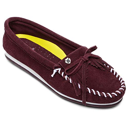Minnetonka Women's Kilty Plus Suede Moccasins - Suede Loafer Shoes with Water Resistant Treatment 8 M Bordeaux