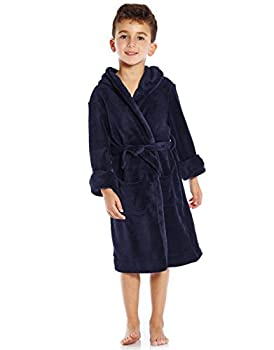 Leveret Kids Robe Boys Girls Solid Hooded Fleece Sleep Robe Bathrobe 12 Years Navy