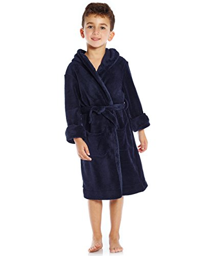 Leveret Kids Fleece Sleep Robe Navy Size 14 Years